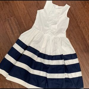Lands End Girls Navy and White Ruffle Dress